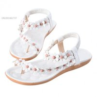 Wholesale Women Girls New Bohemia Flower Beads Flip flop Shoes Flat Sandals Pink White