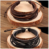 Wholesale 2 COLORS New Arrival Wrap Leather Black and Brown Braided Rope Bracelet for Men and Women Charms Fashion Man Jewelry CCA1674