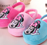 Wholesale Lovely Minnie Mouse Pattern Children Boys Girls Plush Slippers Shoes Cute Winter New Arrival Home Shoes kids Home Cotton Slippers L0732
