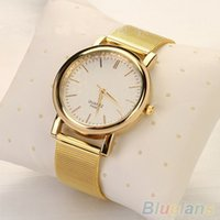 Cheap Luxury Women Golden Plated Metal Mesh Band Round Dial Quartz Analog Wrist Watch 2KL6