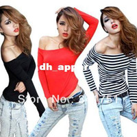 Wholesale Women Stretchy Tight T Shirt Off Shoulder Boat Neck Long Sleeve Slim Blouse Tops Free DropShipping