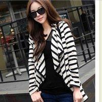 Wholesale Ladies Long Sleeve Striped Coat Peplum Tops Slim Jacket Cardigan Outwear S XL