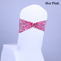 Wholesale Spandex Chair Band With Pink Color Sequin Fabric Lycra Chair Band For Wedding Chair Cover