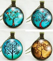 Wholesale Vintage Life Tree Pendant Necklace glass cabochon Necklace Bronze chain choker women children Girl necklaces charm jewelry gift EMS FREE