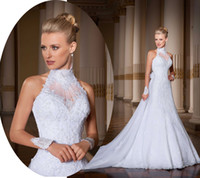 Cheap Real Model High Collar Halter A Line Empire Appliques Lace Beading Backless Chapel Train See Through Wedding Dresses Bridal Gown