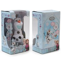 Wholesale 2015 Cartoon Frozen Olaf Dolls Plastic Piggy Coin Bank Music quot Olaf the Silly Enchanted Snowman quot Movie Doll with Retail Box cm MC