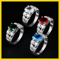 Wholesale 2015 Wedding Gemstone Rings Plated Silver Couple Rings For Women Jewelry Lovers Crystal Rings Mix Colors Choose YBLH40
