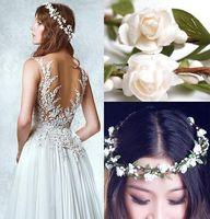 Wholesale 2015 Two pieces Wedding Garland Floral Hoop White Anadem Green Wreath Fairy Veils Zuhair Murad Bridal Hair Accessories