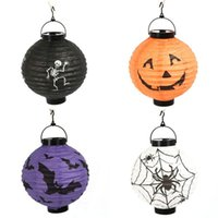 Wholesale Halloween lantern pumpkin Skull Bat Spider hanging paper lanterns portable without battern shipping DHL