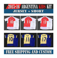 Wholesale 2015 New Kids Soccer Kits Childrens Home Red Soccer Jersey White Short Sportswear Youth Football Uniforms free custom name number