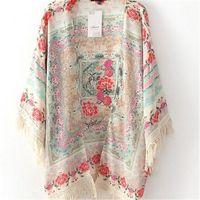 antique kimonos - Women New Tassel Blouse Regular Floral New Antique Flower Fringed Shawl Chiffon Kimono Cardigan Blouse Shirts KH850902