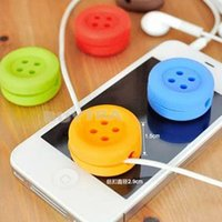 Wholesale Cute Button Design cable winder cable Headphone winder wrapped wire device Cartoon earphones cable winder