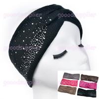 Wholesale HOT Classical Women s Knitted Headwrap rhinestone Knitting wool Winter crochet headband ear warmers for Girls Teens Women