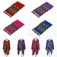 Wholesale Retro Women Cashmere Shawl Muffler Stylish All match Lady Paisley Tassels Long Wraps Pashmina Scarves Colors Choose DJQ
