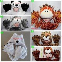 Wholesale 10 BBA5003 winter Unisex gifts Fashion animal hats paw gloves syncretic plush hats tiger Scarves Gloves Sets Animal hat scarf Paw gloves