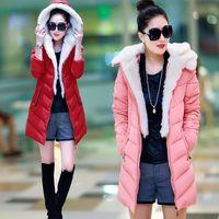 Wholesale Multi colors Detachable Fur Collar Long Down Coat Casual Parka flocking pocket women winter coats colors size L XL XXL