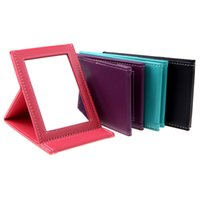 Wholesale 4 Colors NEW Portable Makeup Mirror Travel Leather Desktop Strong Foldable Folding Table Mirrors Cosmetic Vanity Stand Mirror