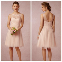 Wholesale 2015 A Line Bridesmaid Dresses Tulle Blush Pink Lace Applique Sheer Scoop V Back Zipper Capped Sleeveless Short Party Dress Pleats Ruched