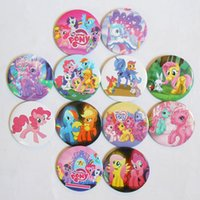Wholesale 2015 New Arrival My Little Pony Kids Cartoon Tin Buttons Pins Badges MM Round Brooch Badge Kids Party Favor