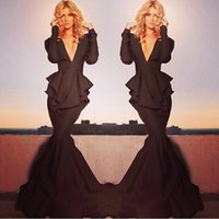 Wholesale Sexy Michael Costello Long Sleeve Mermaid Evening Gowns Deep V Neck Peplum Prom Dresses Formal Dresses Sweep Train Celebrity Red Carpet