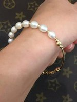 14k real gold - 2016 New design Best Pearl Real Natural Freshwater Pearl Bracelet with k gold chain Cultured Genuine Pearl Beads