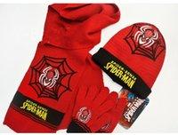 baby boy hats mittens - Baby Boys Cartoon Spider man scarf hat scarf gloves mittens set hat scarf baby