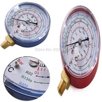 Wholesale AUTO AIR CONDITIONING MANIFOLD GAUGE LOW PRESSURE BLUE HIGH PRESSURE RED FOR REFRIGERANT R22 R404 R134a CELSIUS BAR SCALE order lt no tra