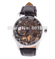 band saw - car See Through Silver Tone Hollow Skeleton Wind Up Mechanical Mens Wrist Watch A448 wrist band watch