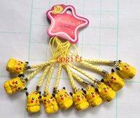 al por mayor accesorios de moda para el teléfono móvil-60 Pcs Pikachu de cobre hizo mascotas perro anillo Bell, campanas de cadenas de teléfono celular con accesorio de moda correa regalo de Navidad