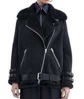 acne jacket - DHL shipment ACNE Acne studios oversized leather jacket winter faux soft coat black zippers motorcycle style suede fur lining
