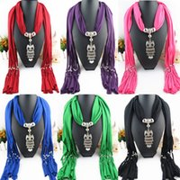 Wholesale Top Selling Scarf Jewelry Pendant Necklace Fashion Womens Soft Scarves Jewellery Mix Design Colors high quality FreeDHL E82L