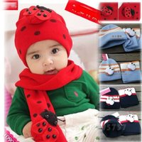 Wholesale GOOD WINTER BABY HAT SCARF TWINSET COTTON BEATLES HAT CHILDREN HAT SCARF TODDLER ANIMAL BB