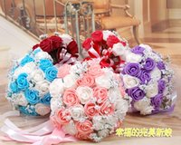 artificial flower bouquet - Hot Sales Beautiful Colorful Artificial Roses Flowers Wedding Bouquet Perfect Wedding Favors Bridal Hand Holding Flowers Cheap DL1313702