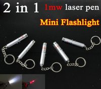 Cheap Mini Flashlight 2 in 1 laser pen multi-function LED Light xmas 1mW Beam Red Laser Pointer Pen with Keychain Flashlight PA
