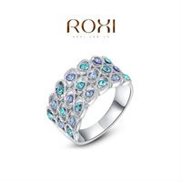 Wholesale ROXI Gift Platinum Plated Romantic Blue Stone Ring Statement Rings Fashion Jewelry For Women Party Wedding