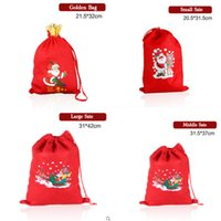 Wholesale 2015 Santa Non woven Christmas Supplies Santa Claus Bag Gift Elk Organic Heavy Canvas Bag Red Gold Color Drawstring Bag Free Ship