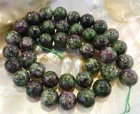 Wholesale 12mm Natural Red Green Ruby Zoisite Round Gemstone Jasper Loose Beads