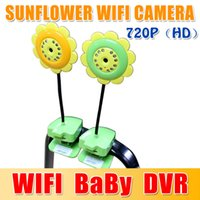 Wholesale DHL free Sunflower WIFI Camera P CCTV CMOS Baby Camera Baby Monitor Mini Camcorder Support For Android Smartphone For iphone waitingyou