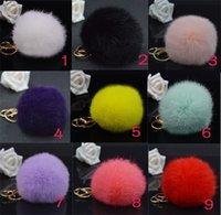 Wholesale 2015 Novelty New Arrival Lovely Genuine Rabbit Fur Ball Pom Car Keychain Handbag Charm Key Ring