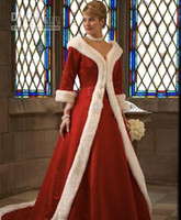 Wholesale Cowl Neck Dresses For Women - 2015 HotNew Long Sleeves Cloak Winter Ball Gown Wedding Dresses Red Warm Formal Dresses For Women Fur Appliques Christmas Gown Jacket Bridal