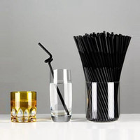 Wholesale 80Pcs Hot Plastic Black Flexible Bendy Drink Straws Home Party Birthday Wedding Drinking Decorative Accessory