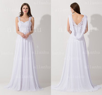 Cheap Real Image White Sweetheart Lace Beaded Topped Bridesmaid Dress 2015 Chiffon A-line V-back Zipper with Button Beach Wedding Dress BZP0395