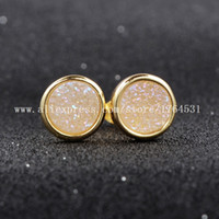 agate stud earrings - mm K Gold Plated Round AB Color Natural Agate Titanium Druzy Stud Earrings Fashion Jewelry Geode Earrings