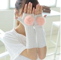 Wholesale Fashion Women Girls Ladies Fur Hand Wrist Warmer Winter Fingerless Long Gloves