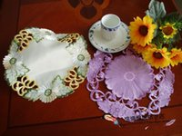 Wholesale Original single export quality satin embroidered openwork ornaments mat coasters doily placemat European Fabric Hot