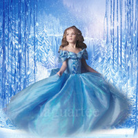 Wholesale 2015 In Stock Cinderella Kids Dress Girls Cinderella Butterfly Dress Blue Princess Girl Party Dresses Cinderella Lace dress Cosplay Costume