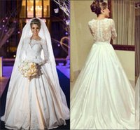 bead buyer - Sexy Long Sleeve Wedding Dress A Line Lace Buyer Show Bateau Bead Sheer Neck Hollow Luxury Floor Length Sweep Trian Bridal Gowns