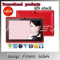Wholesale Ship form USA Q88 quot Android Tablet A23 Dual Core Tablet PC GB MB Capacitive WIFI Dual Camera inch Tablets PC
