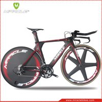 Wholesale 2016 Time Trial Bicycle Miracle Carbon Fiber Triathlon Bike cm New Design Red Line White Decal Carbon TT Complete Bike