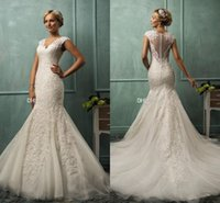Cheap 2015 Wedding Dresses Amelia Sposa V Neck Cap Sleeve Lace Tulle Mermaid Wedding Gowns Appliqued Fit Flare Sheer Backless Plus Size Brida